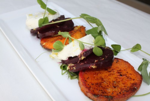 Caramelized Sweet Potato and Goat Cheese Salad with Cilantro Oil