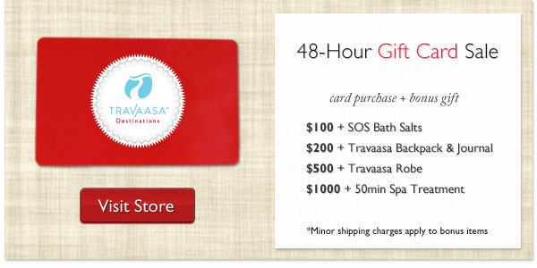 We've got your gift cards for the holidays covered with our 48-hour gift sale at Travaasa Aust