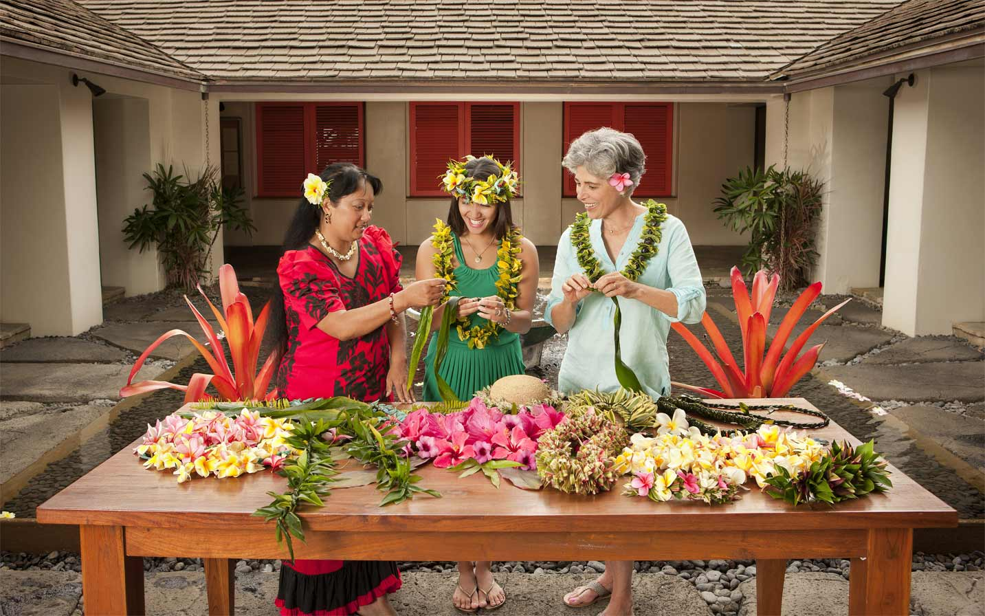Lei Making in Hana, Maui